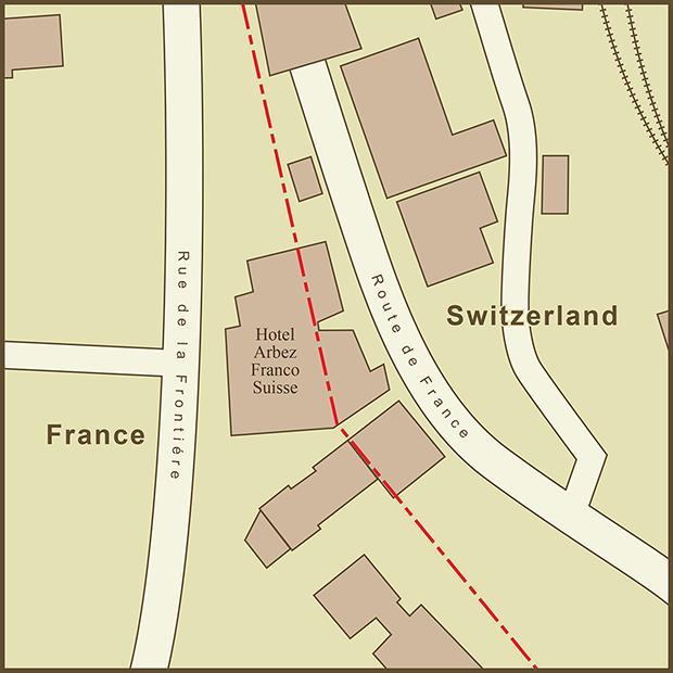 France-Switzerland, Hotel Arbez Map.png