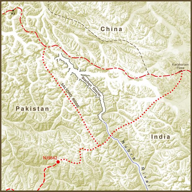 India-Pakistan, Siachen Glacier Dispute Map.png