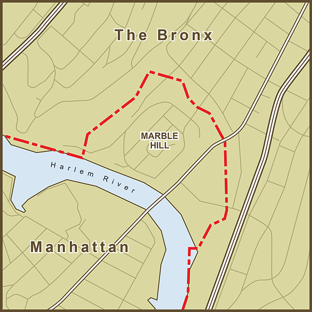Bronx-Manhattan, Marble Hill Map.png