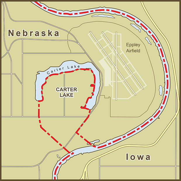 Iowa-Nebraska, Carter Lake Map.png