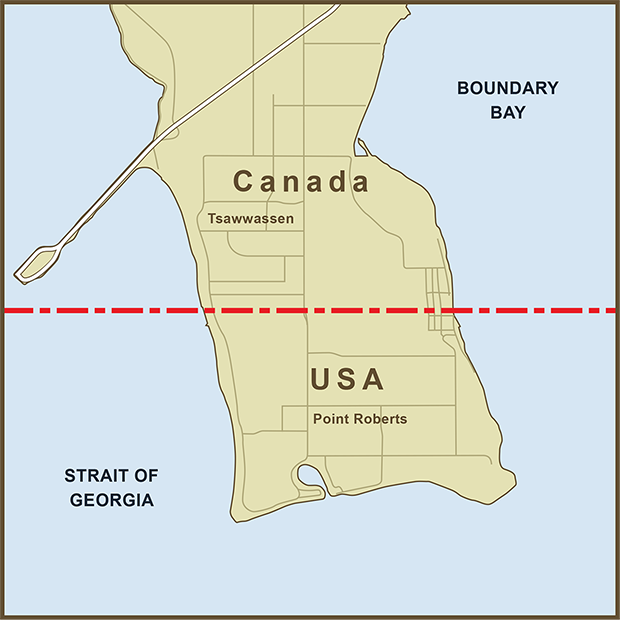 Canada-USA, Point Roberts Map.png