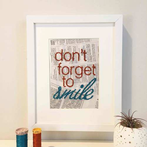Embroidery, meet paper. Pati, owner/artist, stitches fun, funny, adorable saying on newspaper to make you smile. I gifted my sister an Old News Design card last year when I met Pati and she still has it on her mantle now, where she tells me it will remain for years to come