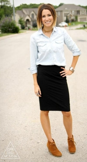 One Little Mama creates a casual yet polished style with easy flat ankle booties and a black pencil skirt.