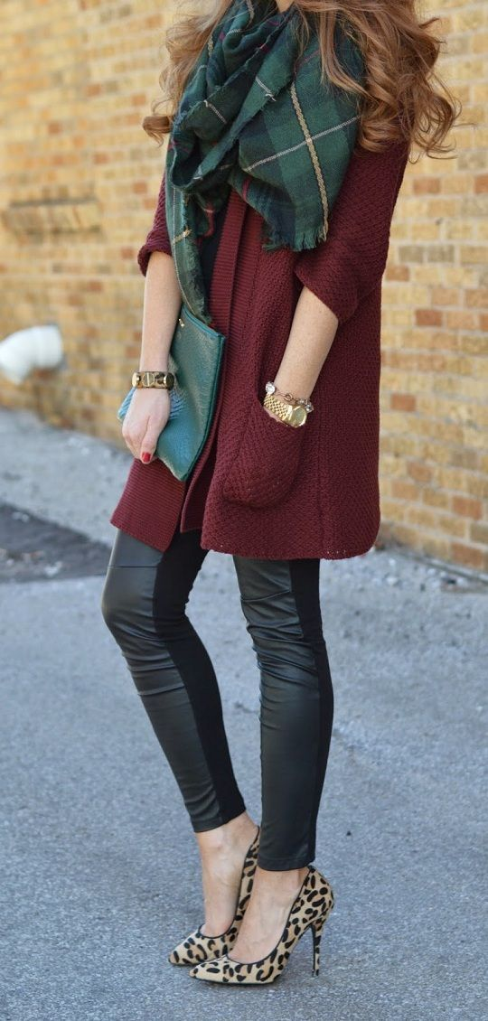 Duster Jacket + Pleather Leggings