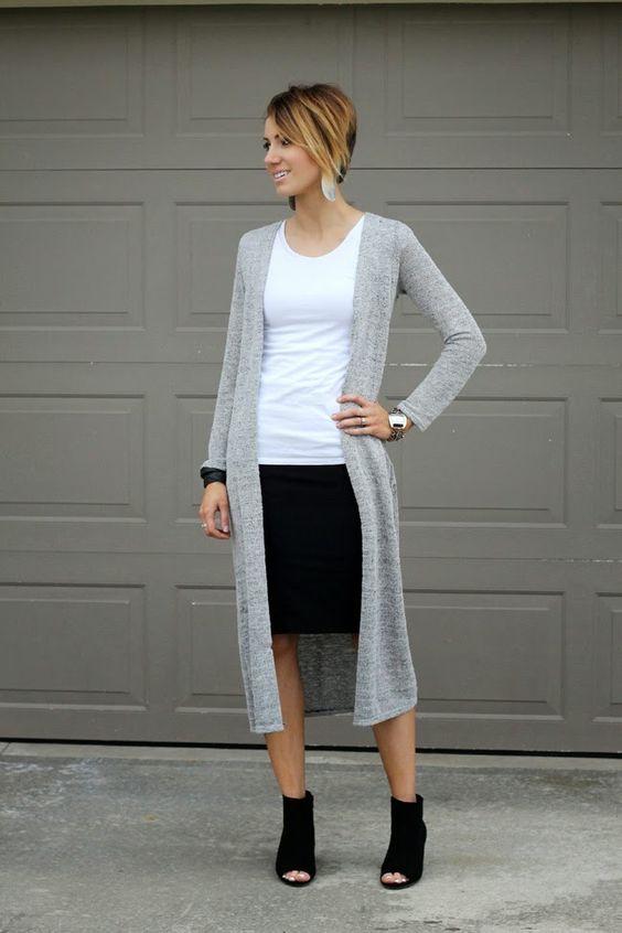Duster + Pencil Skirt