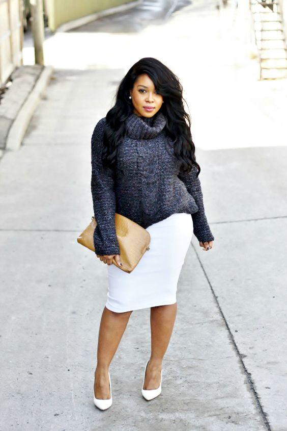 Bulky Sweater + Pencil Skirt