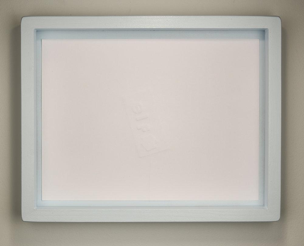 REMAINS  , 2016  Debossing on cardstock, blue shadowbox frames