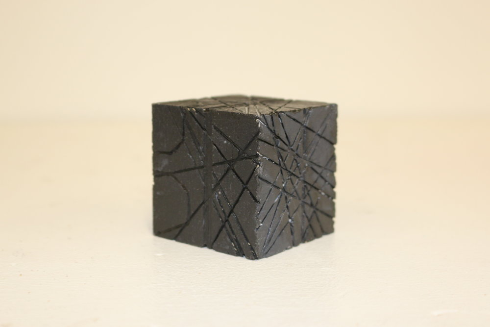 Youming Zhang  3d Fundamentals  Project: 30 Yards  Wood cube, black paint, approx. cut marks.