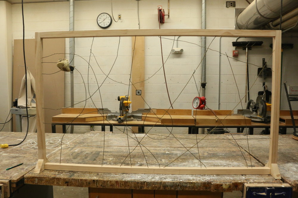 Tyrell Johnson  3d Fundamentals  Project: Relativity/Relationships  Wood, clothes hanger wire, animal heart, clock.