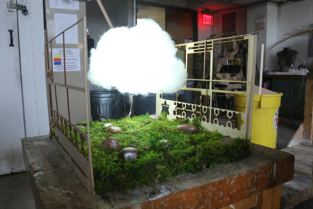 Julia Peigh  3d Fundamentals  Project: Relativity/Relationships  Fiberfill, moss, stones, wood, LED lights.