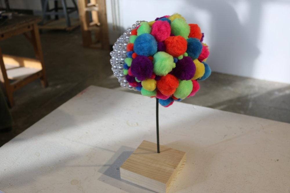 Jen Gedz  3d Fundamentals  Project: Free For All  Steel, wood, plastic beads, pom-poms.