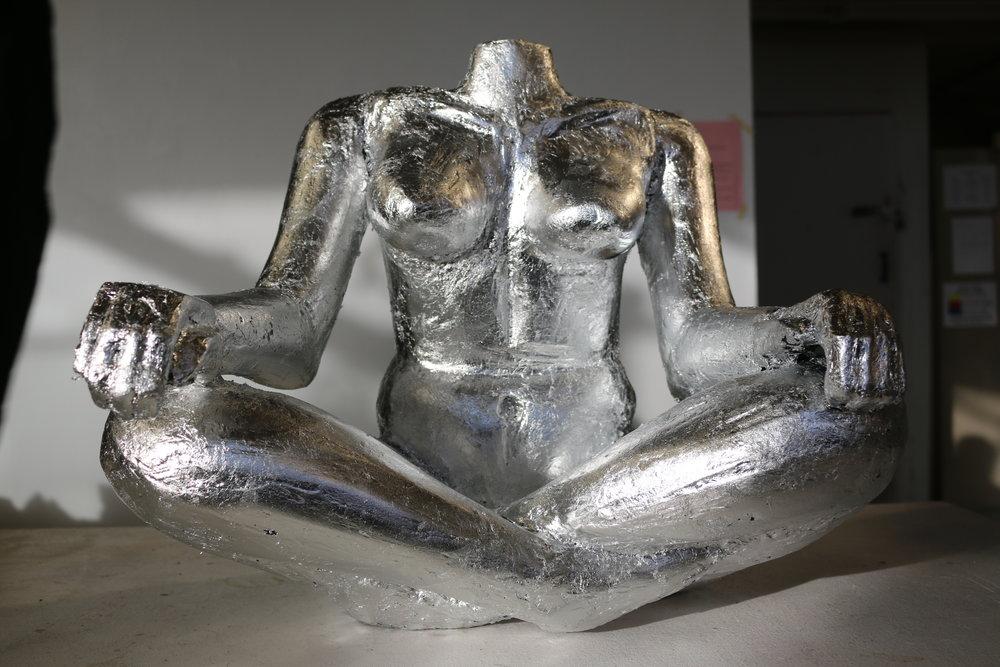 Kelley Gaghan  3d Fundamentals  Project: Free For All  Foam, silver leaf.
