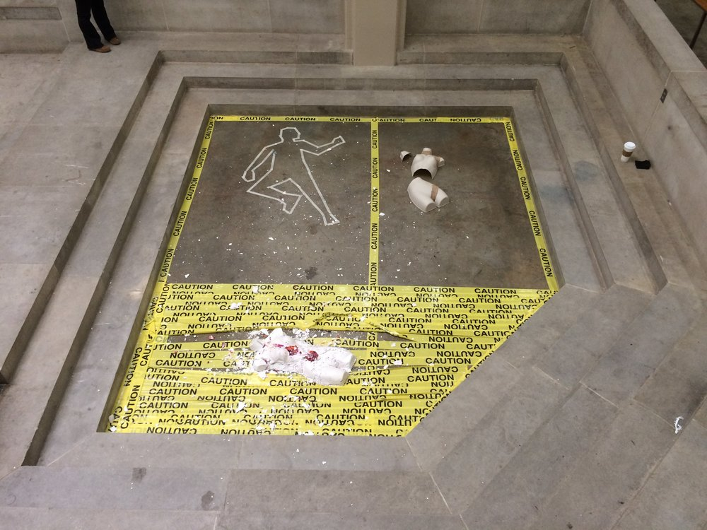Asiana Phan  3d Fundamentals  Project: Free For All  Plastic, plaster, wax, caution tape, masking tape.