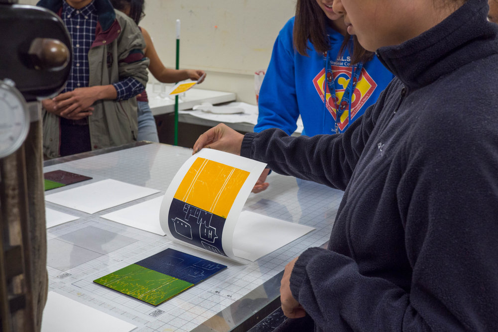 Participants remove paper and repeat process to create a collection of prints