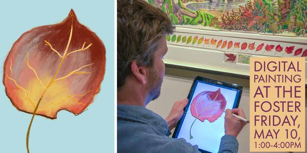 Artist Charles Coates paints one of Tony Foster's leaf renderings in Exploring Beauty