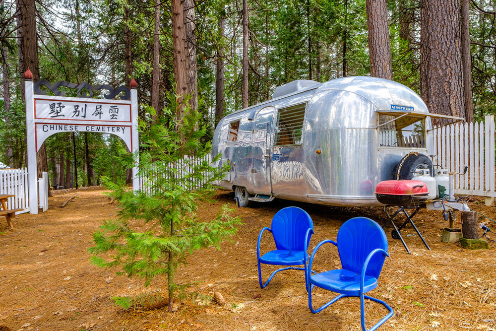 Near the Airstream (used as a campground business office), you will find the remains of a historic Chinese Cemetery from the gold mining era.  Don't worry, the ghosts are long gone.