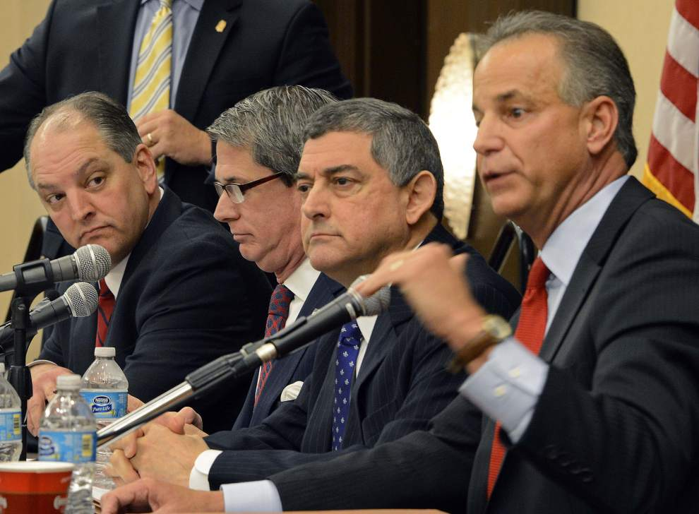 Advocate staff file photo by BILL FEIG -- Gubernatorial candidates. From left at table, John Bel Edwards, David Vitter, Jay Dardenne and Scott Angelle.