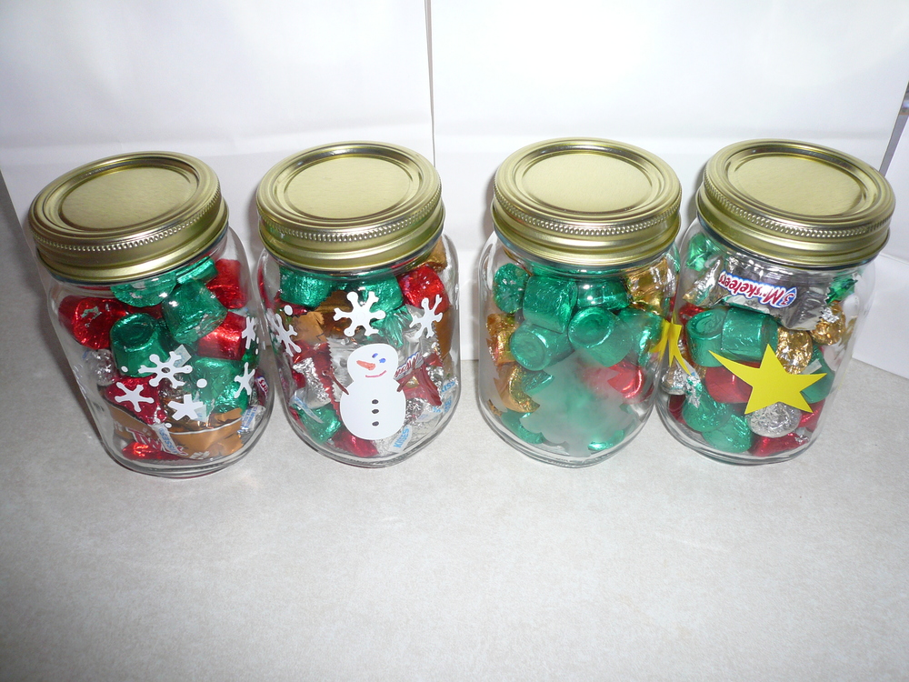 Decorated canning jars for money/gift cards and candy.