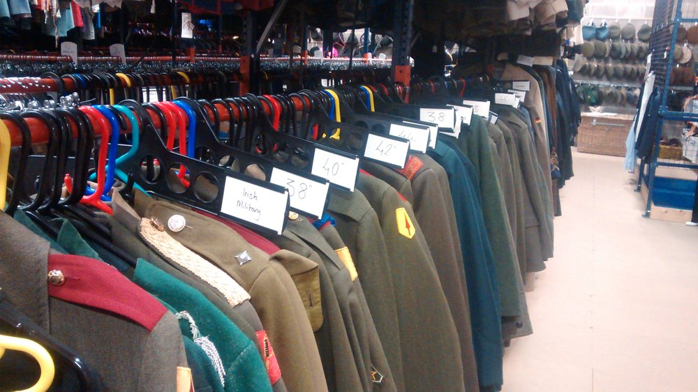 Selection of army jackets in the warehouse