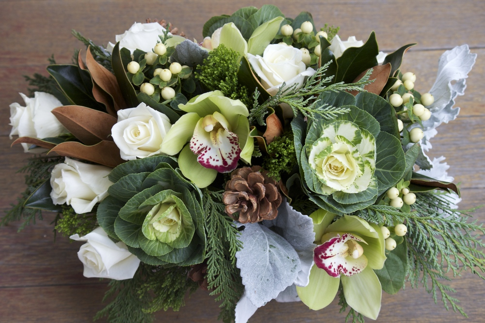 Holiday centerpiece trends green and gray — j morris flowers