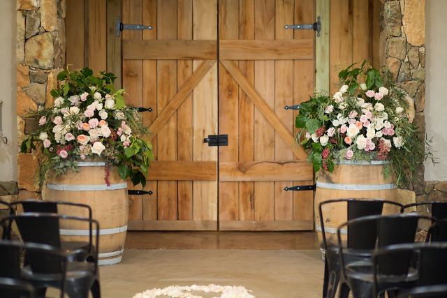 Rustic barrel arrangements.