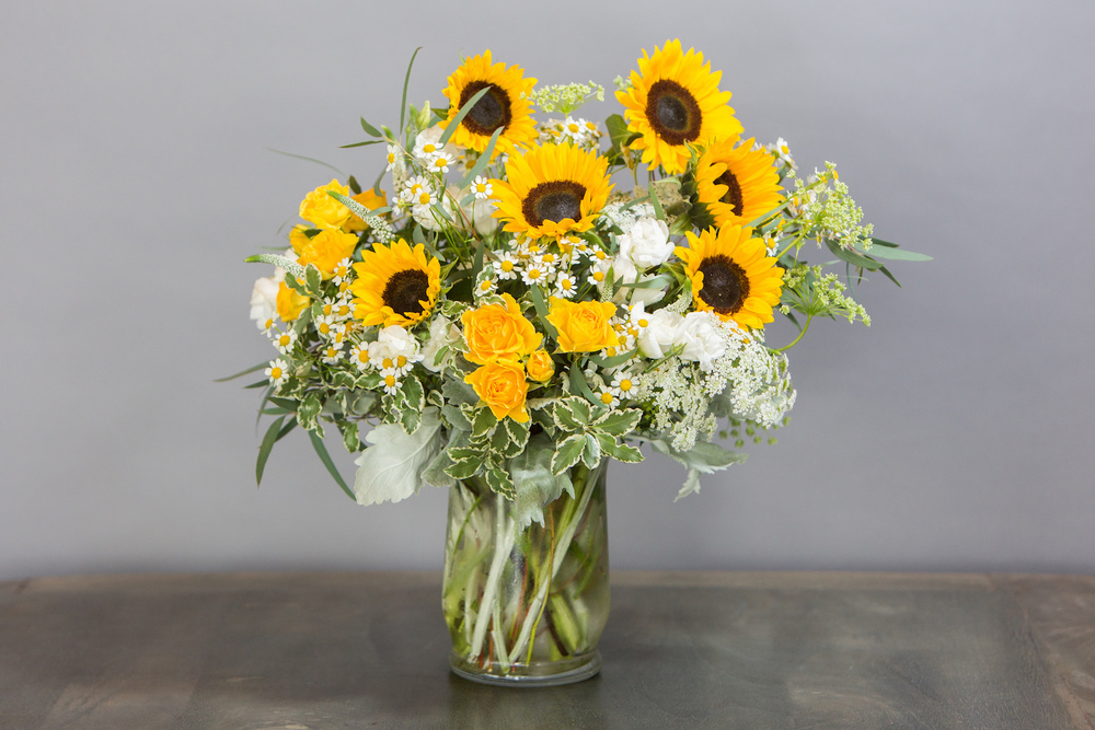 Sunflowers, Queen Anne's Lace and Spray Roses