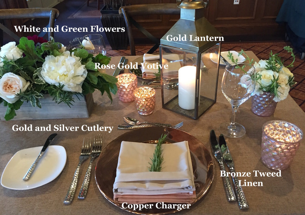 A mixed-metal table settings and flowers at Landsdowne Resort and Spa, Leesburg, VA.