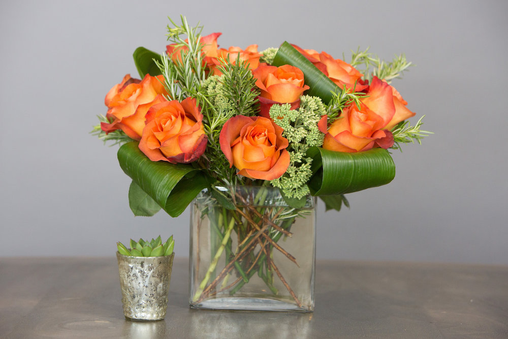 "This ""modern dozen"" with burnt orange Roses is paired with a succulent in a small votive vase, sold separately."