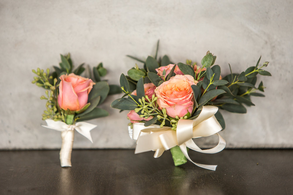 Prom Corsage-Boutonniere duo in peach (Corsage $35, Boutonniere $15)