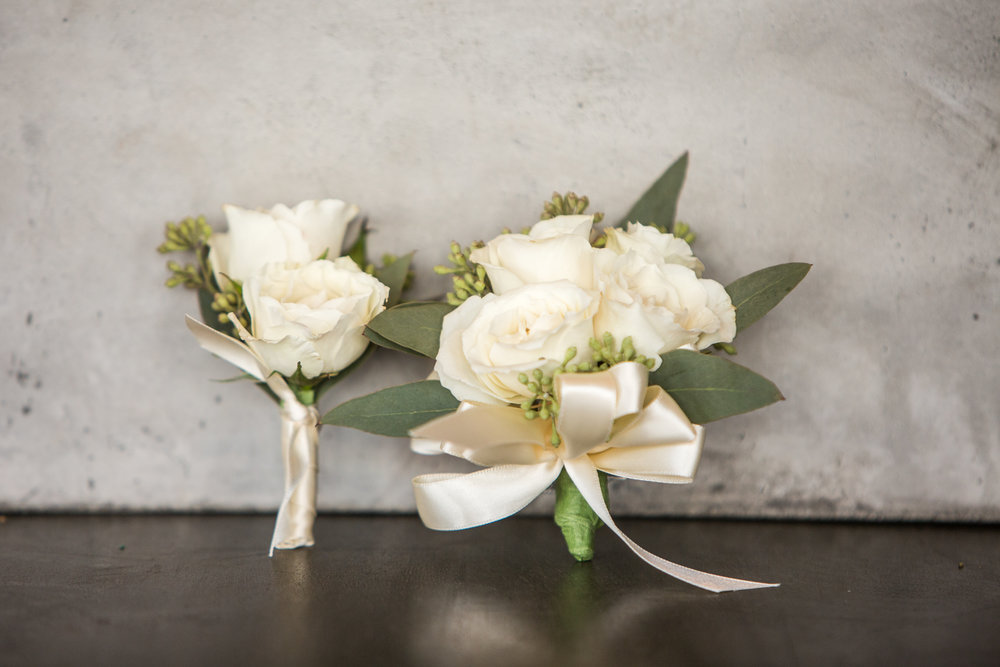 Prom Corsage-Boutonniere duo in white/ivory (Corsage $35, Boutonniere $15)