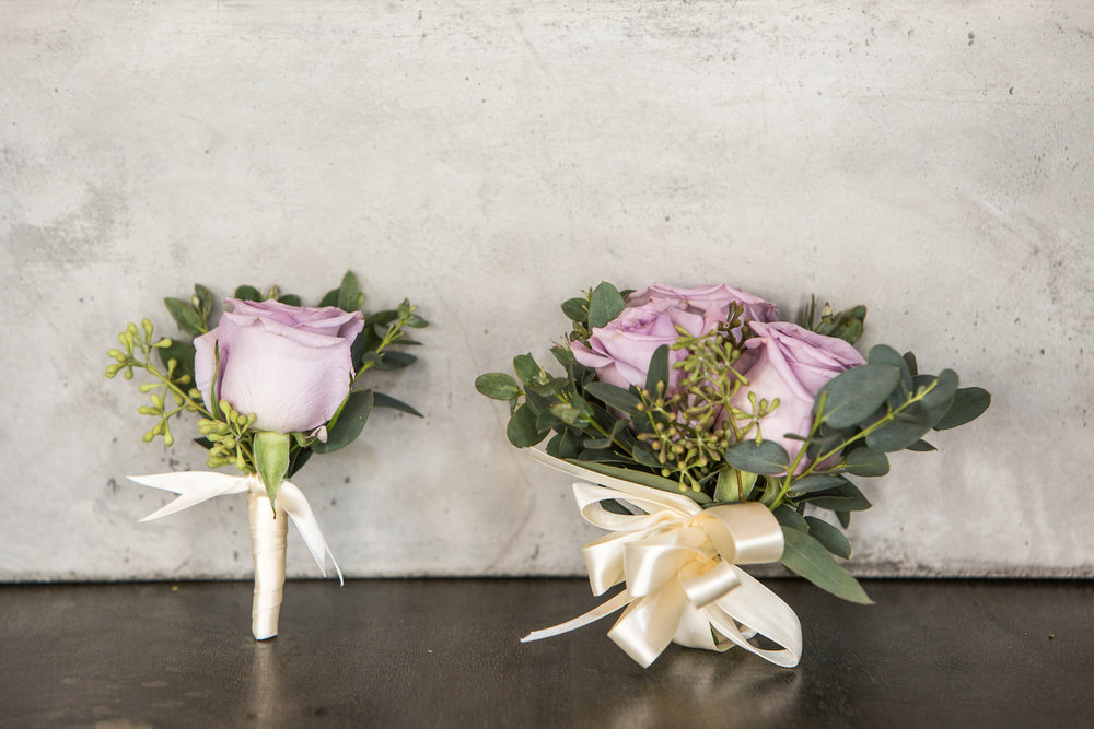 Prom Corsage-Boutonniere duo in purple (Corsage $35, Boutonniere $15)