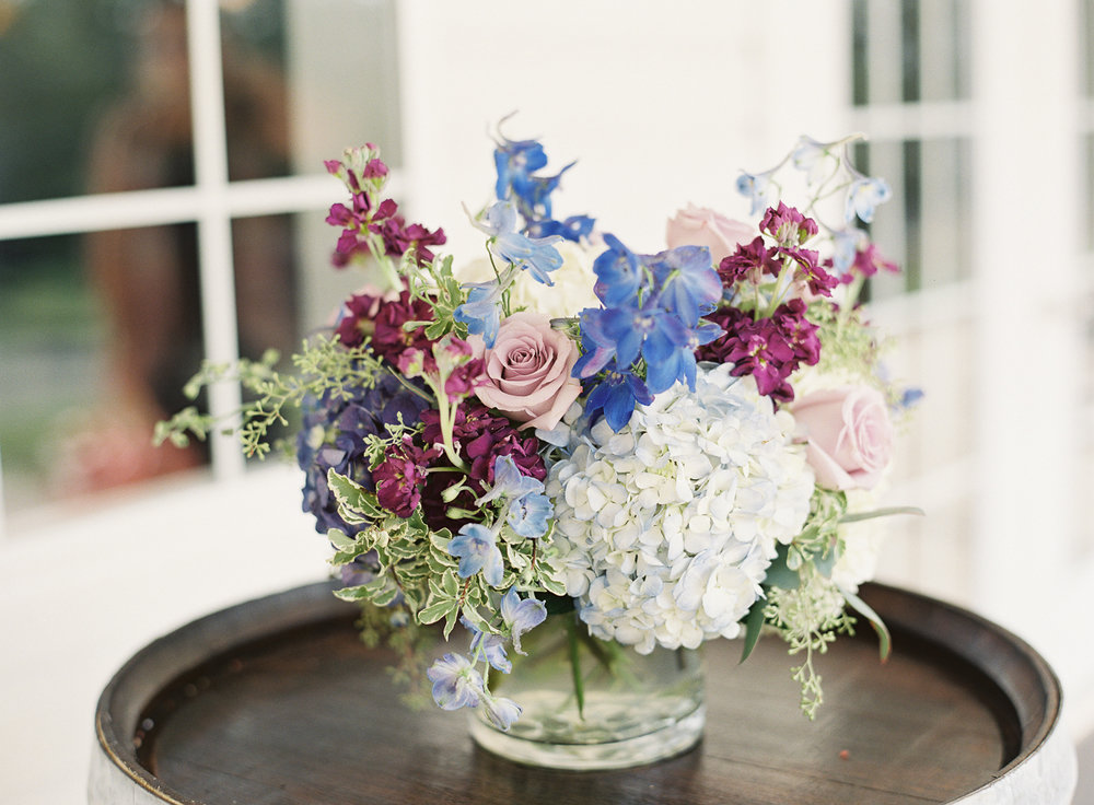 Light and dark blue Delphinium and blue Hydangea, Photography by Ashley Relvas.
