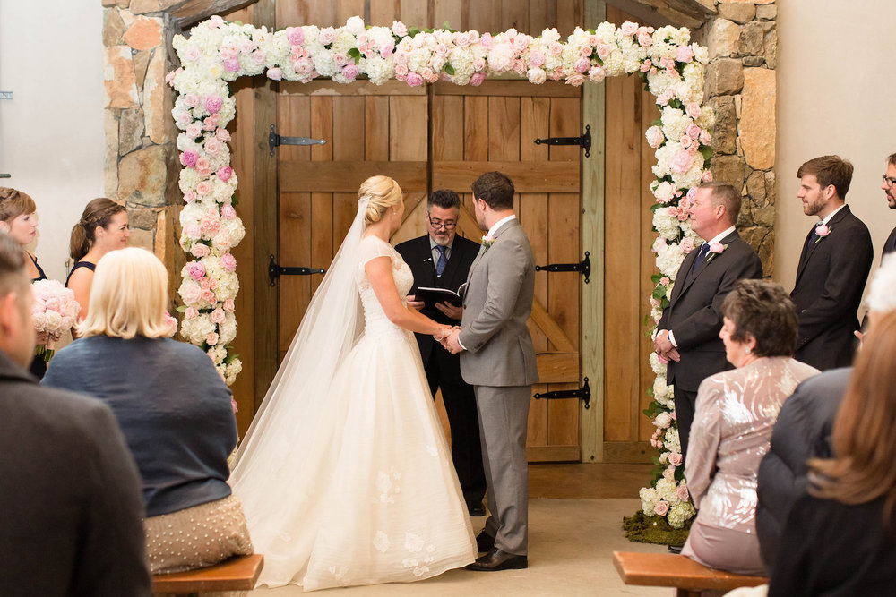 Full floral arch, rental and florals by J. Morris Flowers, photography by Candice Adelle.