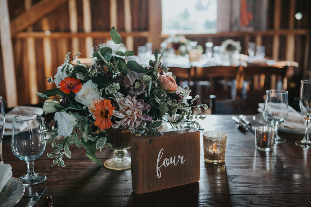This bride's favorite    flowers    became the focal point of her arrangements. Silverbrook Farm, Virgina. Photography by Purple Fern.