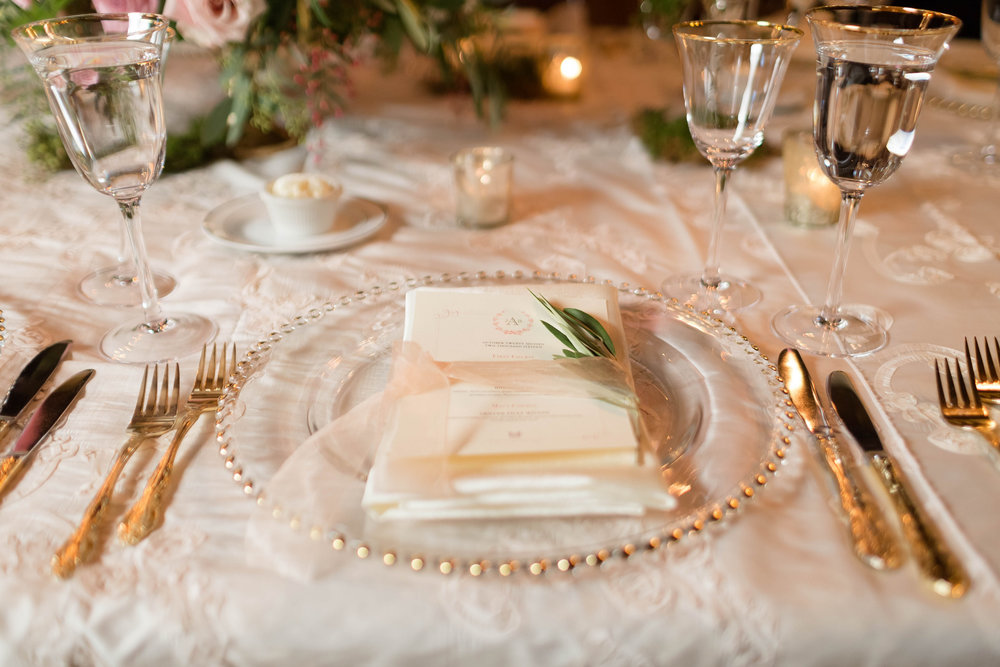 Place setting with Rosemary at Red Fox Inn in Middleburg, Virginia. Photography by Candice Adelle.