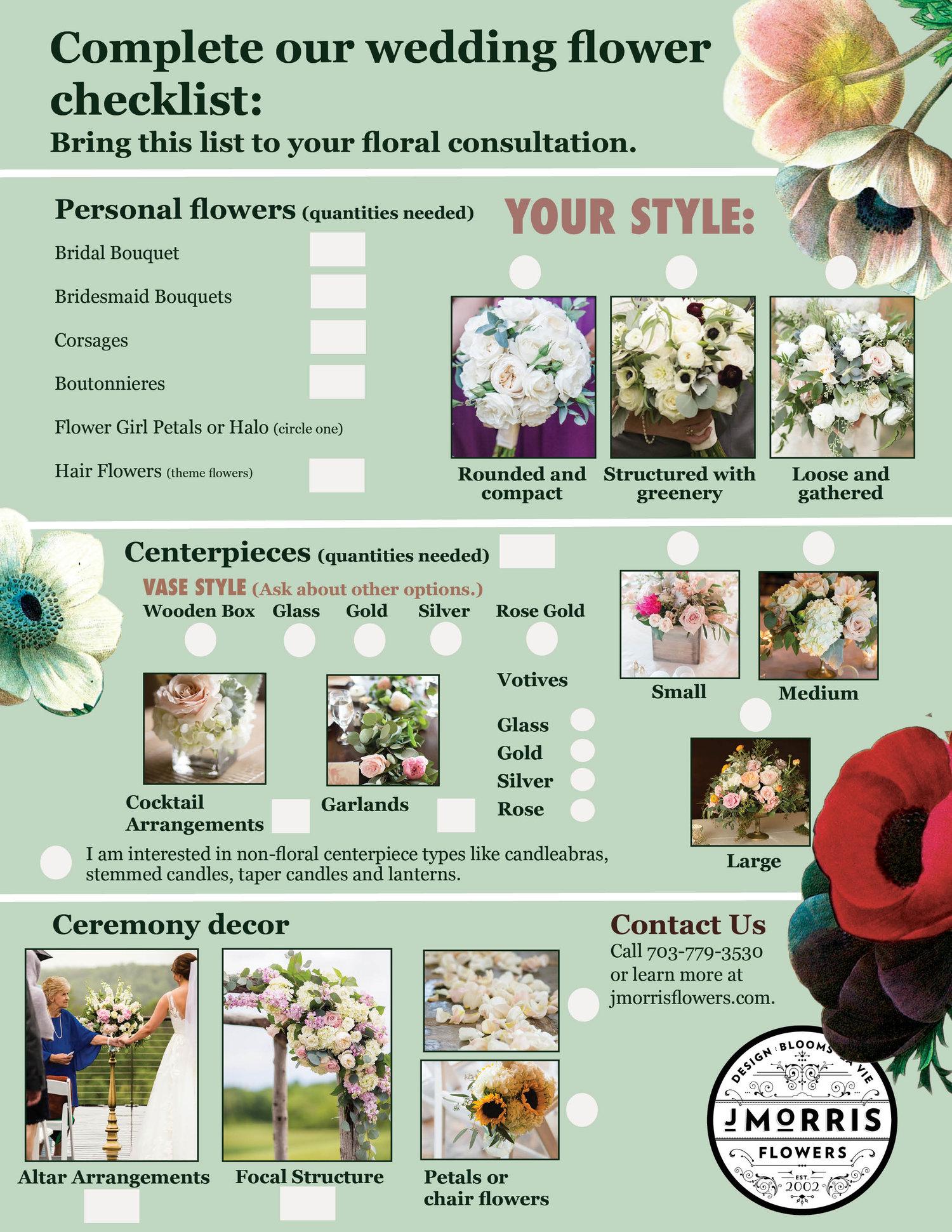 your wedding flower checklist j morris flowers