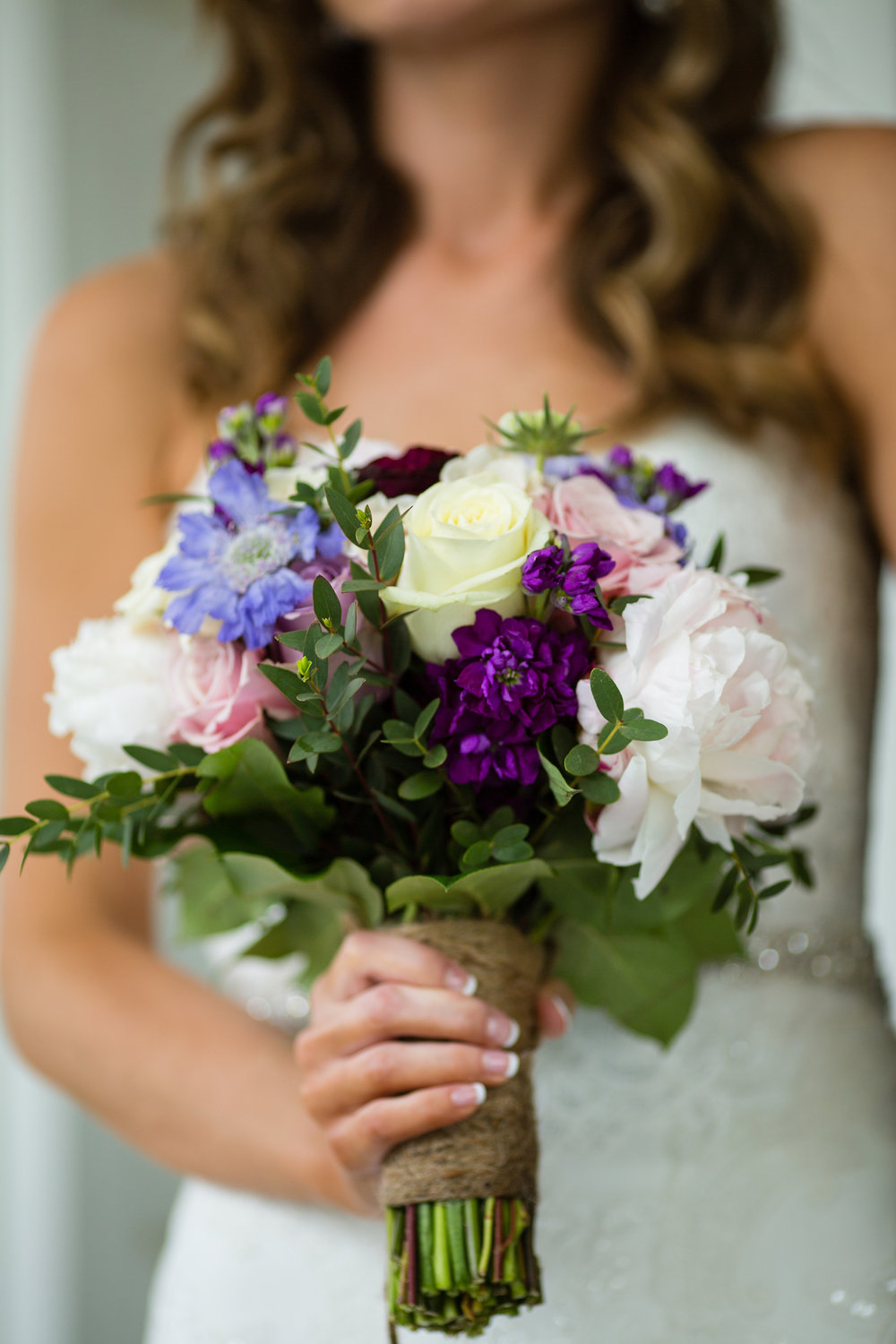 Purple Snapdragon and Burgundy Ranunculus with soft pink Peony. Pamela Lepold Photography.