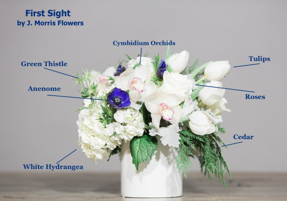 """First Sight"" features Anenome and White Cymbidium Orchids."