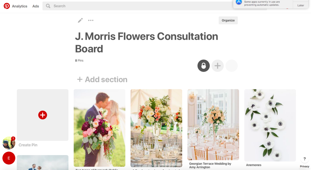 "This is a mock Pinterest board that features three ""top"" designs for bridal bouquets and centerpieces. Step 1: Create an exclusive board for the consultation."
