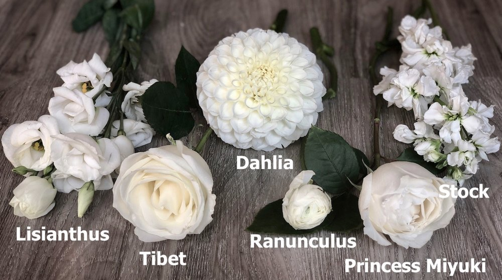 A few of the flowers that we like to use when we are designing weddings with white florals.