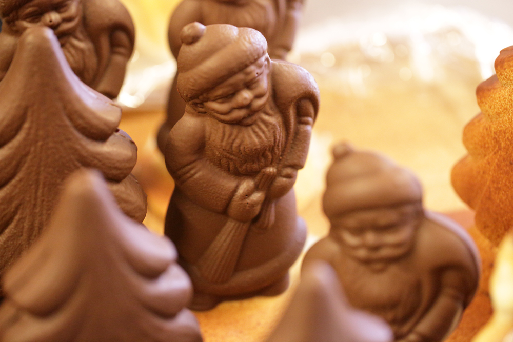 holiday figures in chocolate
