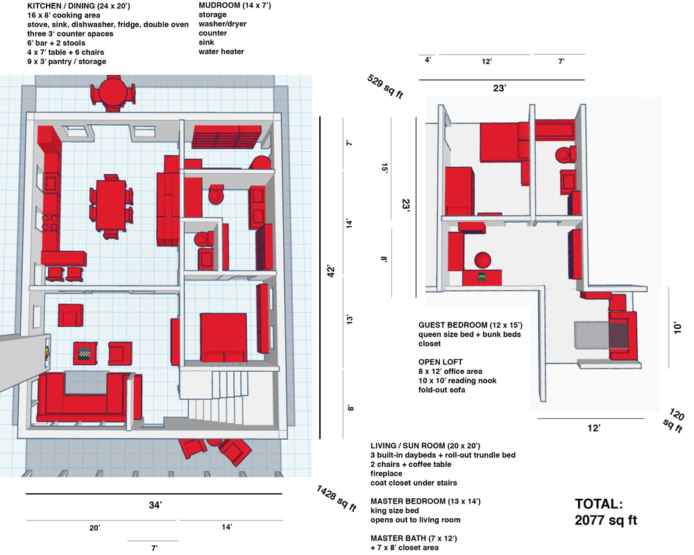 An early presentationlayout (and early floor plan)I put together for my folks.