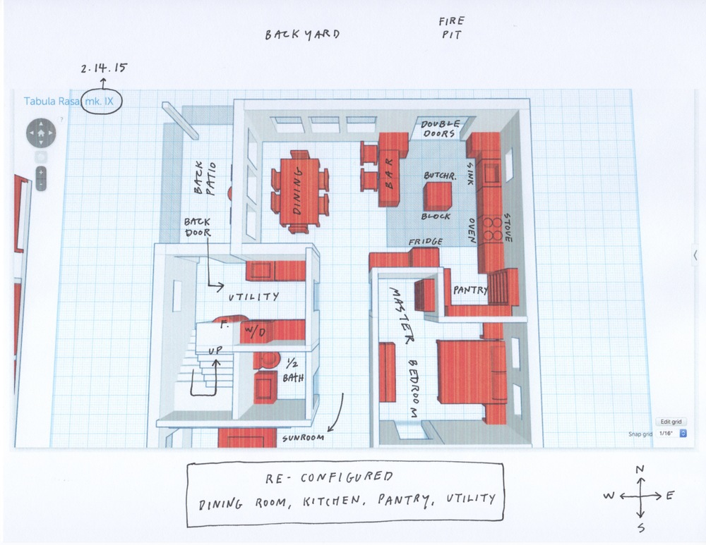 As requested, the kitchen and dining room are now one -- but separated by a bar. Everyone can betogether but alsoout of each other's way. Pantry access is easier. Double doors now open out to the east end of the backyard, where the fire pit and outdoor seating will be.Utility room is now on the west side of the house, and is also where the stairs are. The unnecessarily spacious 1/2 bath has shrunk, and the master bedroom gains a little entrance area. The back deck on the northwest corner is smaller, just big enough for a couple chairs and maybe a bike.