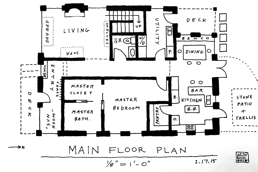 "Changes:  1. Foyer and sun-room have been consolidated into one open space; main entry has been shifted east, to about 2/3 of the width of the structure.  2. Double doors previously in the kitchen have been re-located to the dining area. This adds counter space in the kitchen and re-directs foot traffic from the 'work zone' to the 'entertaining zone'. Tentatively: kitchen access to the back patio is retained with a single door (this may or may not survive, come construction).  3. Dining area and foyer each gain a built-in bench.  4. Central hallway has been narrowed 6 - 12"" in the interest of keeping a tidy footprint."
