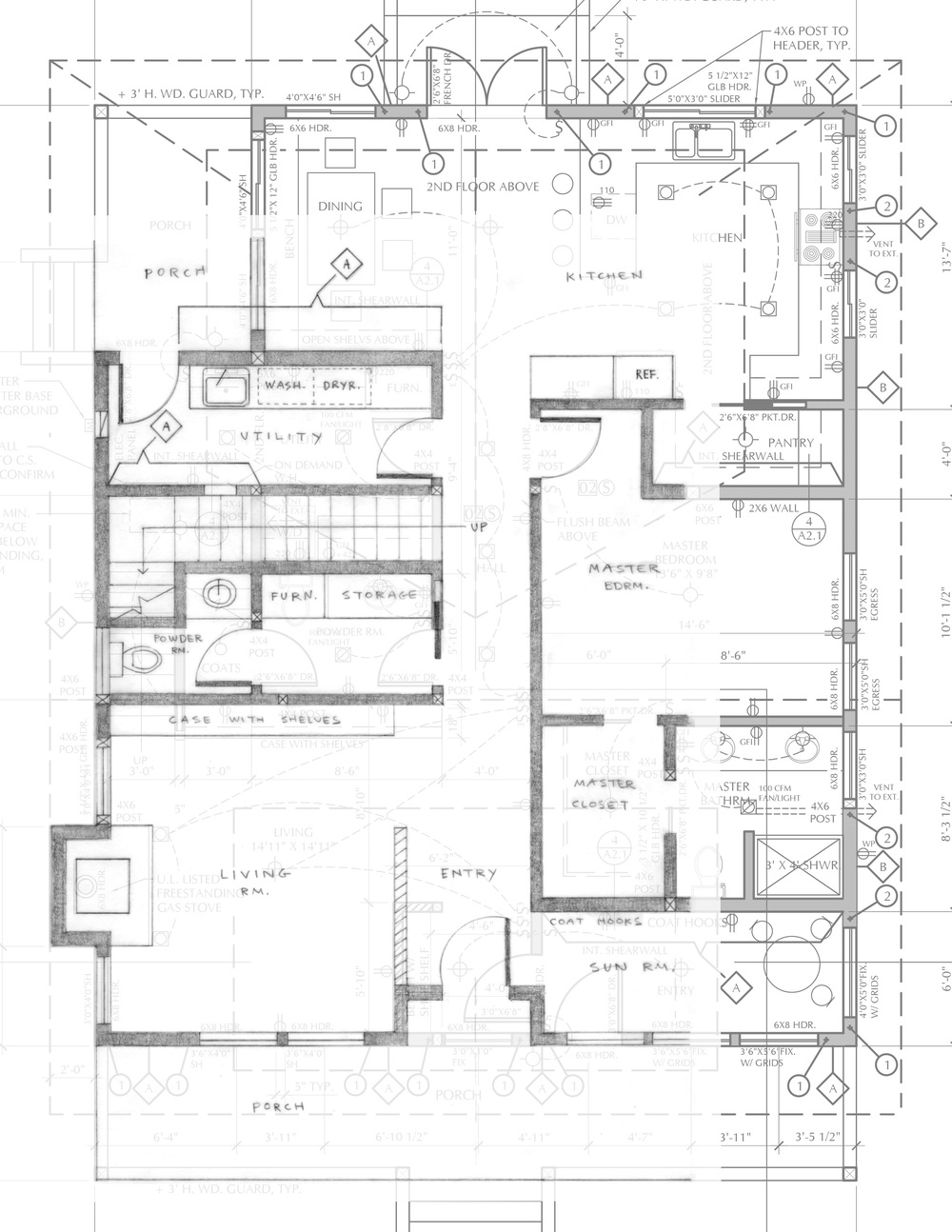 Drawing of first floor with proposed changes overlaid on top of the architects' plan.