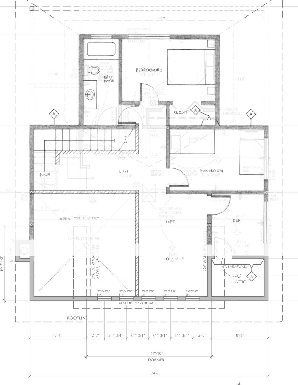 Drawing of second floor with proposed changes overlaid on top of the architects' plan.