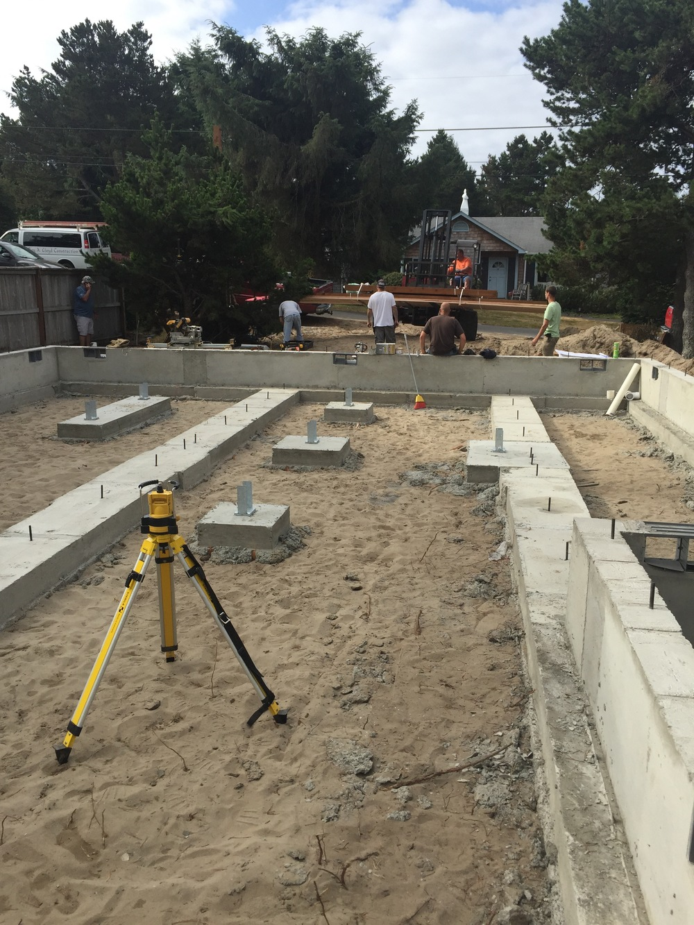 Laser level in foreground