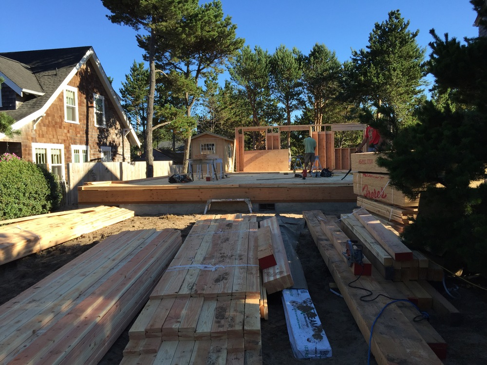 Lumber, sub-flooring and first exterior wall