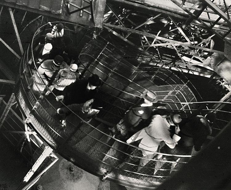 It Was So Windy in the Eiffel Tower, Paris , 1931.