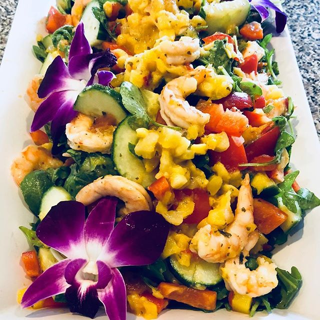 Summer Salads on the Patio!  Today's Salad Special is Cilantro Like Shrimp tossed with Chunky Mango Salsa, Cucumbers, Red Peppers & Arugula. Dine In or Takeout 781-245-3035 www.zuzuscatering.com #summersalads #wakefieldmerchants #wakefieldma